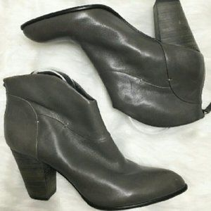 Gray Leather Ankle Boots Bootie B. Makowsky Women